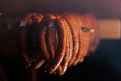 Fotomural Comida tradicional. Sausuages fumado no fumeiro.