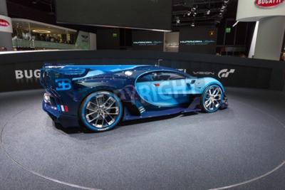 Fotomural Frankfurt, Deutschland - 15 de setembro de 2015: Bugatti Vision Gran Turismo Concept apresentado no 66º Salão Internacional de Automobilismo na Messe Frankfurt