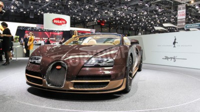 Fotomural Genebra, Suíça - 02 de março de 2014: 2014 Bugatti Veyron Bugatti apresentou na 84ª Rembrandt Internacional de Genebra Motor Show