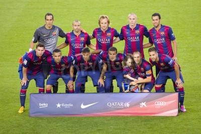 Fotomural Jogadores FCB posando para fotos em amistoso Gamper entre FC Barcelona e FC Clube Leon, contagem final 6-0, em 18 de agosto de 2014, em Camp Nou, Barcelona, Espanha