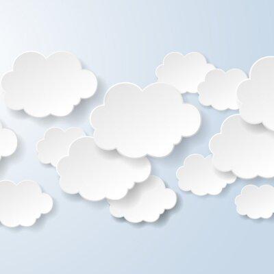Fotomural Resumo balões de fala em forma de nuvens usados em um contexto social