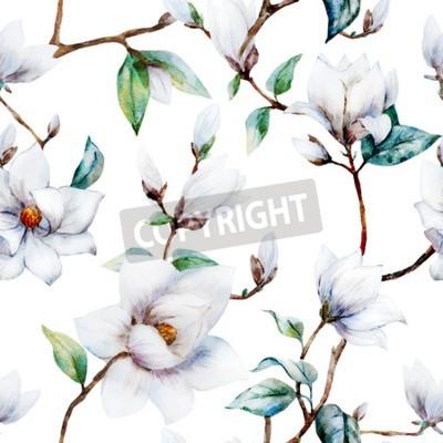 Fotomural Teste padrão bonito da quadriculação com flores agradáveis da magnólia da aguarela
