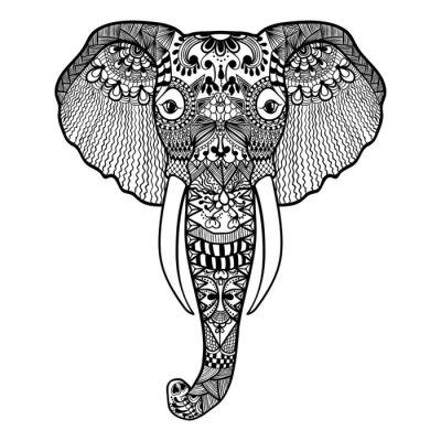 Fotomural Zentangle estilizado do elefante. Mão ilustração vetorial laço Desenhada