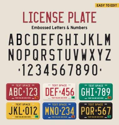 Poster 3d placa de matrícula e placa de licença conjunto