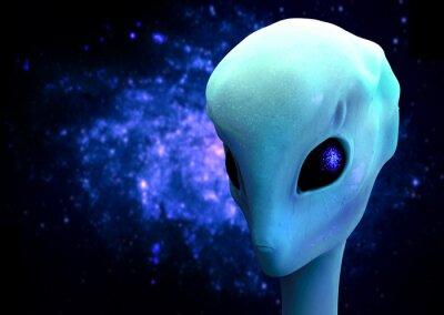 Poster 3d rendem de um alienígena, extraterrestre Visitor