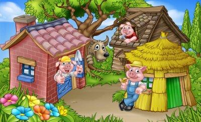 Poster A cena do conto de fadas de três porquinhos