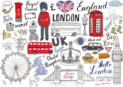 Poster A cidade de Londres doodles a coleção dos elementos. Mão, desenhado, jogo, torre, ponte, coroa, grande, ben, real, guarda, vermelho, ônibus, pretas, táxi, Reino Unido, mapa ...