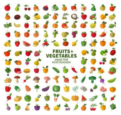 Poster A coleção de ícones em frutas e legumes. Os alimentos frescos