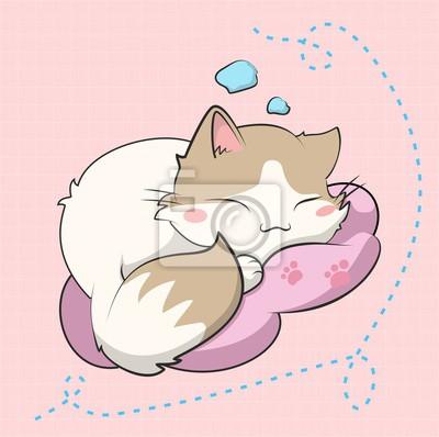 Poster A cute cat sleeping, este gatito esta inspirado en un sticker