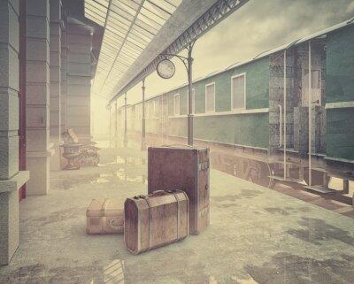 Poster a ferrovia estação de trem retro