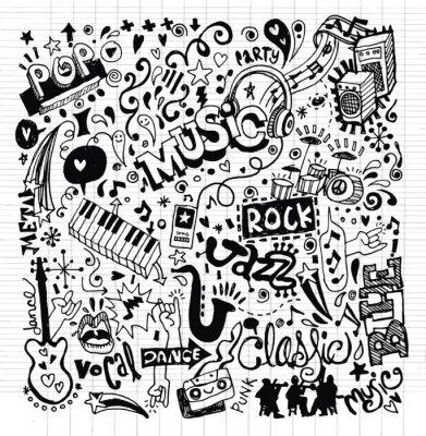 Poster A música de fundo, Mão Doodle desenho
