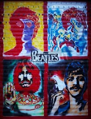 Poster A parede dos grafittis Beatles em Moscovo, rua Stroitelei