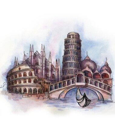 Poster A vista de Itália aquarela de união europeia país isolado no fundo branco