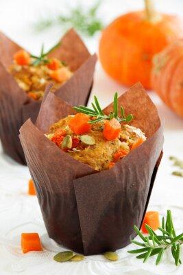 Poster Abóbora muffins com alecrim e sementes.