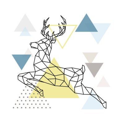 Poster Abstract polygonal deer illustration. Flying Reindeer with side view. Scandinavian style Poster. Vector illustration.