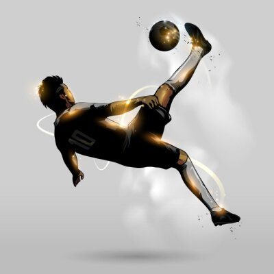 Poster abstract soccer overhead kick