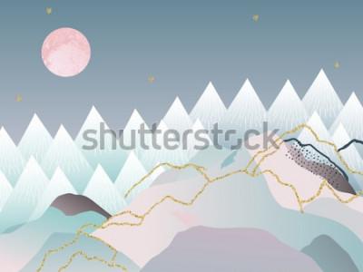 Poster Abstrato geométrico mínimo. Design japonês. Ilustração vetorial Design em mármore