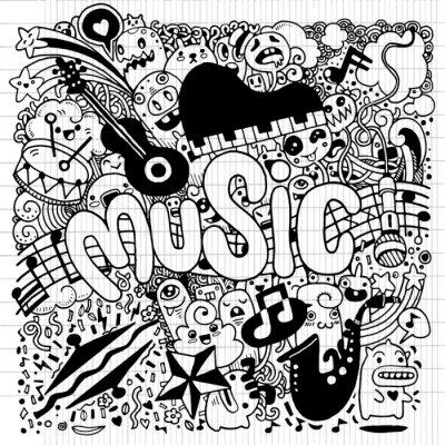 Poster Abstratos, música, fundo, mão, desenho, Doodle, vetorial, illustratio