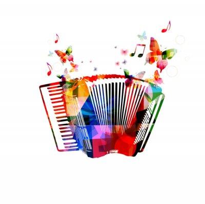 Poster Acordeão colorido. Instrumento música fundo com borboletas
