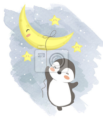Poster adorable penguin illustration for personal project,background, invitation, wallpaper and many more