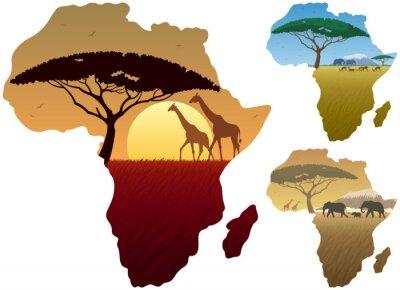 Poster África Mapa Paisagens / Três paisagens africanas no mapa da África.