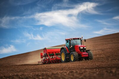 Poster Agricultor, trator, semeadura, colheitas, campo