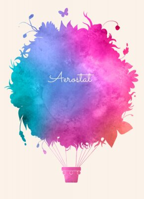 Poster Aguarela do vintage balloon.Celebration ar quente backgroun festivo