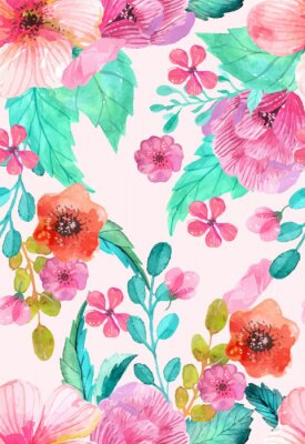 Poster Aguarela floral seamless