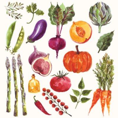 Poster Aguarela legumes e frutas
