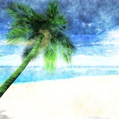 Poster Aguarela, palma, árvore, praia