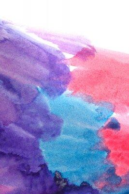 Poster Aguarelas abstratas azuis, roxas, vermelhas.