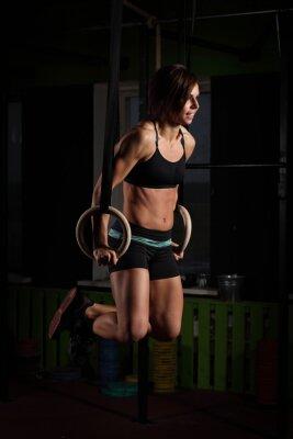 Poster Ajustar, jovem, mulher, ginasta, anéis