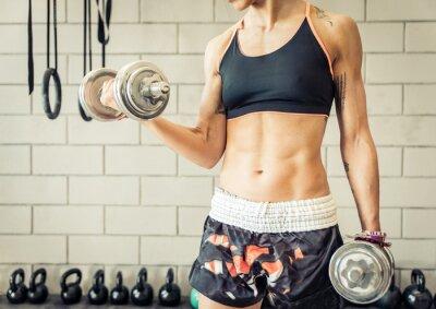 Poster ajuste, mulher, fazendo bíceps treinamento
