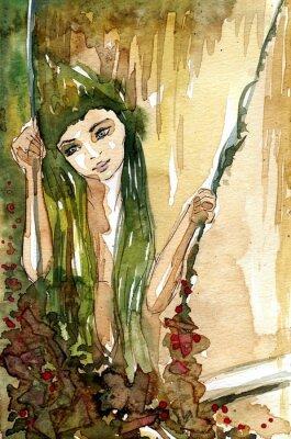 Poster akwarela Dziewczyny na huśtawce