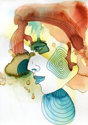 Poster Akwarelowy portret kobiety