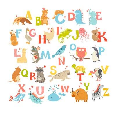 Poster Alfabeto bonito do jardim zoológico do vetor. Animais engraçados dos desenhos animados. Ilustração EPS10 isolado no fundo branco. Cartas. Aprenda a ler