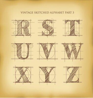 Poster Alfabeto mão Vintage elaborado
