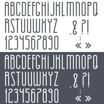 Poster Alfabeto preto e branco, números e sinais de pontuação