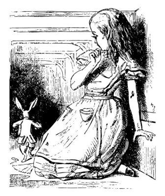 Poster Alice Watches the White Rabbit Run Away vintage illustration