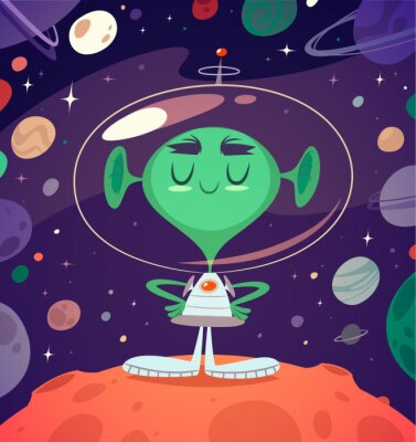 Poster Alienígena feliz. Cartão denominado retro / poster / fundo.