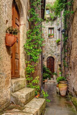 Poster Alley na cidade velha Pitigliano Toscana Itália