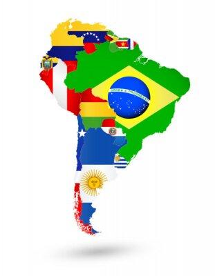 Poster Ámérica do Sul Mapa com bandeiras e localização no mapa do mundo