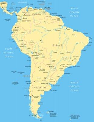Poster América do Sul mapa - Ilustração altamente detalhada do vetor.
