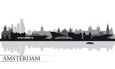 Poster Amesterdão silhueta skyline fundo