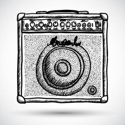 Poster Amplificador Combo Guitarra Ilustração