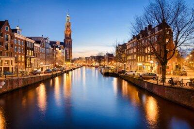 Poster Amsterdam à noite, Países Baixos