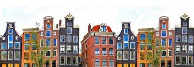 Poster Amsterdam. casas tradicionais fronteira