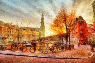 Poster Amsterdão, canal, noite, impressionista, quadro