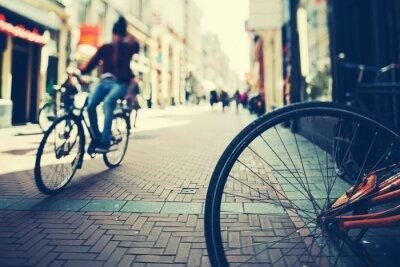 Poster Andar de bicicleta em Amsterdam at Sunset
