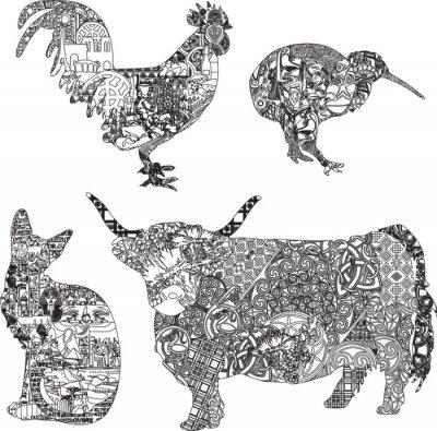 Poster animais em ornamentos étnicos